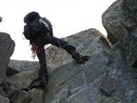 Climbing with backpack
