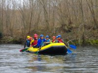 Sinking the oar on the river