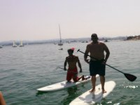 Practicing paddle surfing in the Cantabrian