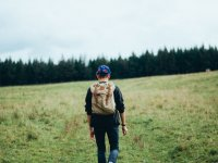 Walking with backpack