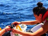 摩托艇放置相机上的滑水