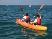 Sail in a two-sea kayak