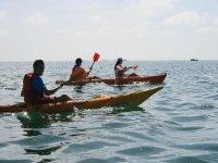 Sail in two-seater or single-sea kayak