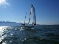 Sail on a sailboat