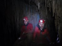 Speleologists with frontals