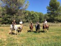 Escursione al sole con cavalli