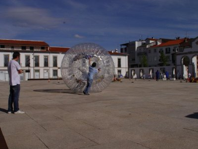 Zorbing in Portugal close to Alcañices