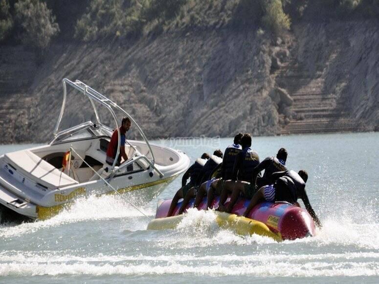 Speedboat dragging the glide