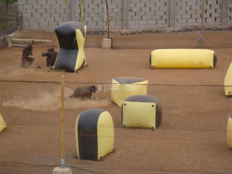 Stage of paintball inflatables