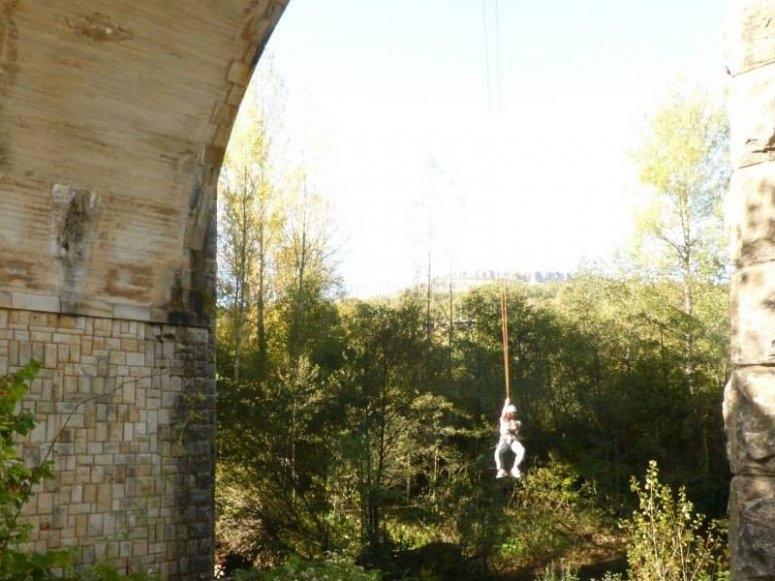 Pendulum on the bridge after the jump