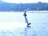 enjoying the wakeboard