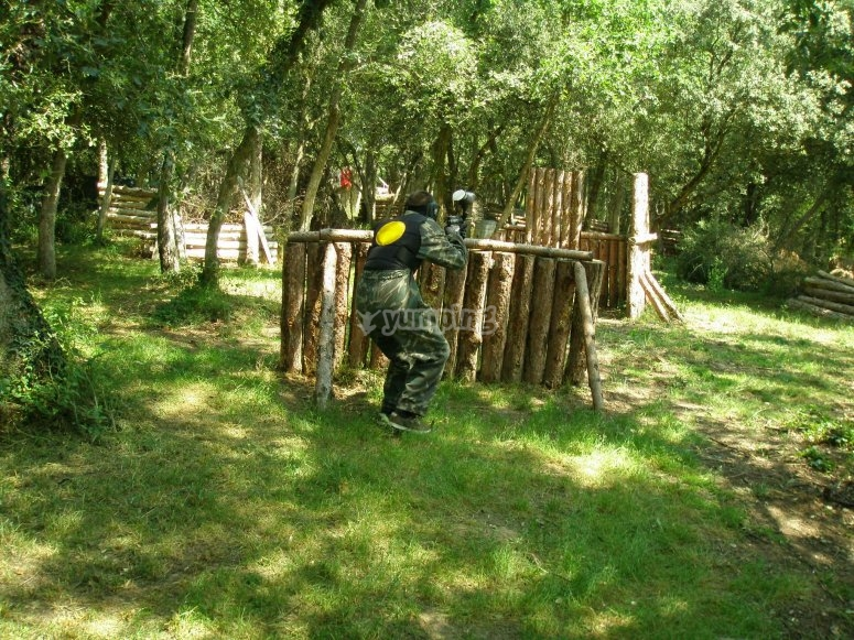 Escenario de paintball en bosque