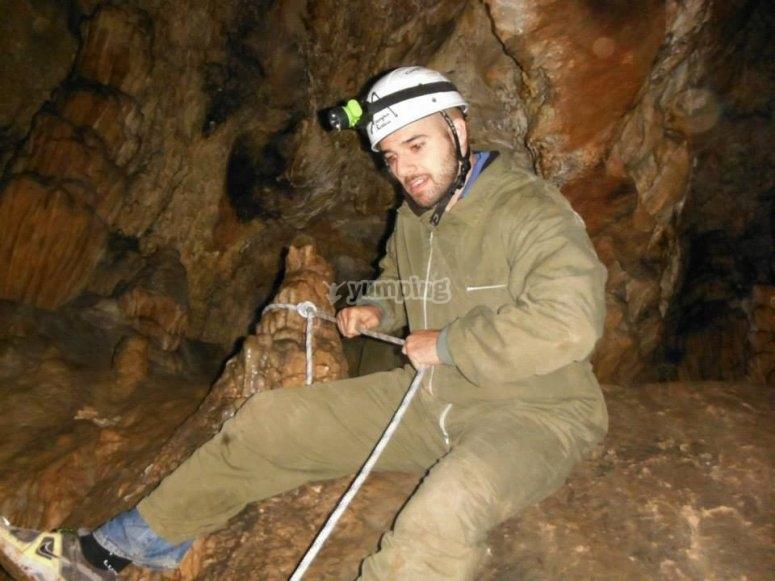 Exploring inside a cave