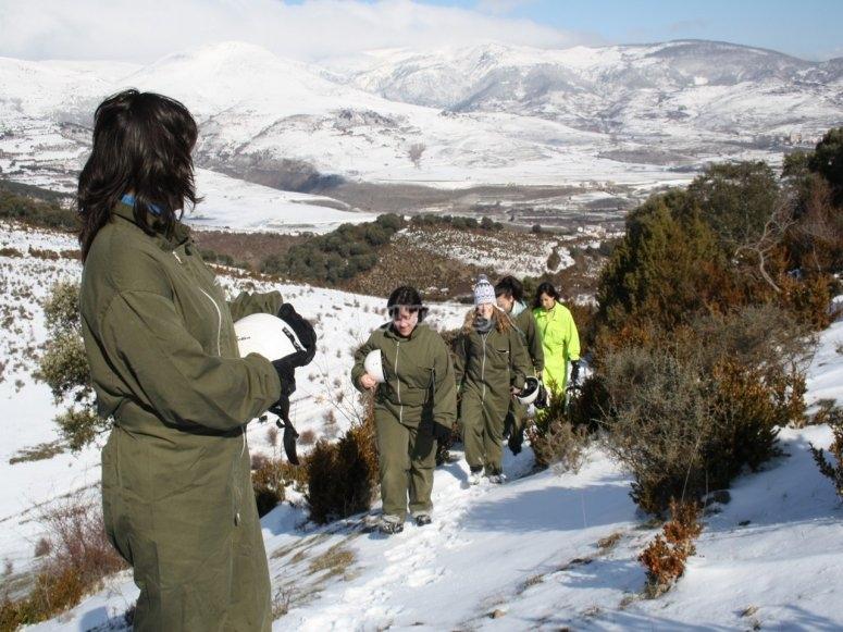Speleology activity on a snowy day