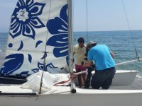 Recording the catamaran from deck