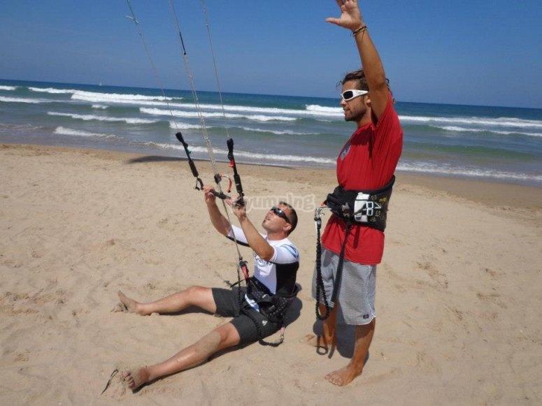 Práctica de kitesurf supervisada