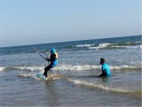 Kitesurfing in the water