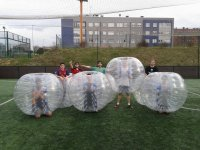 Bubble soccer players