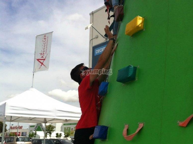 Helping to climb