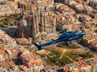 View of the helicopter over the Sagrada Familia