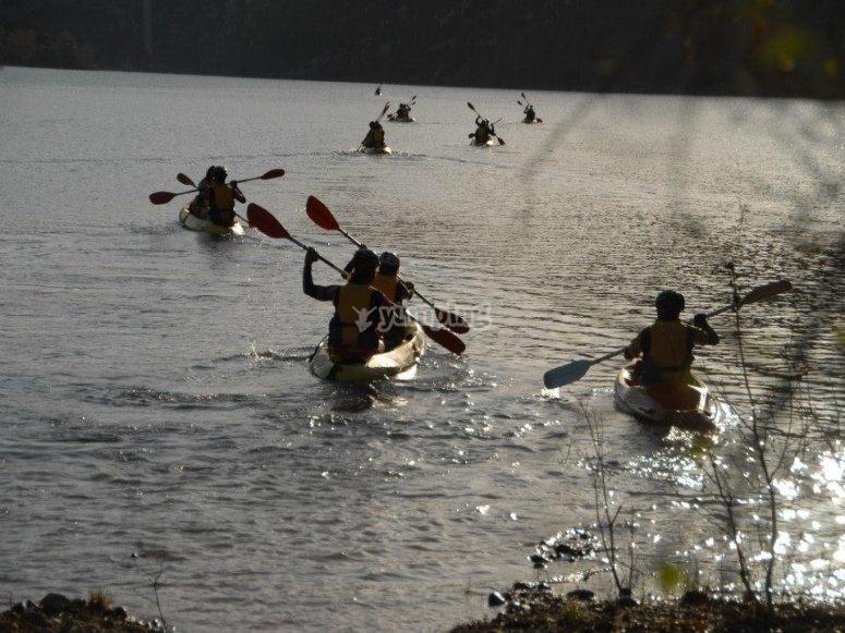 Group trip on a kayak in Barasona