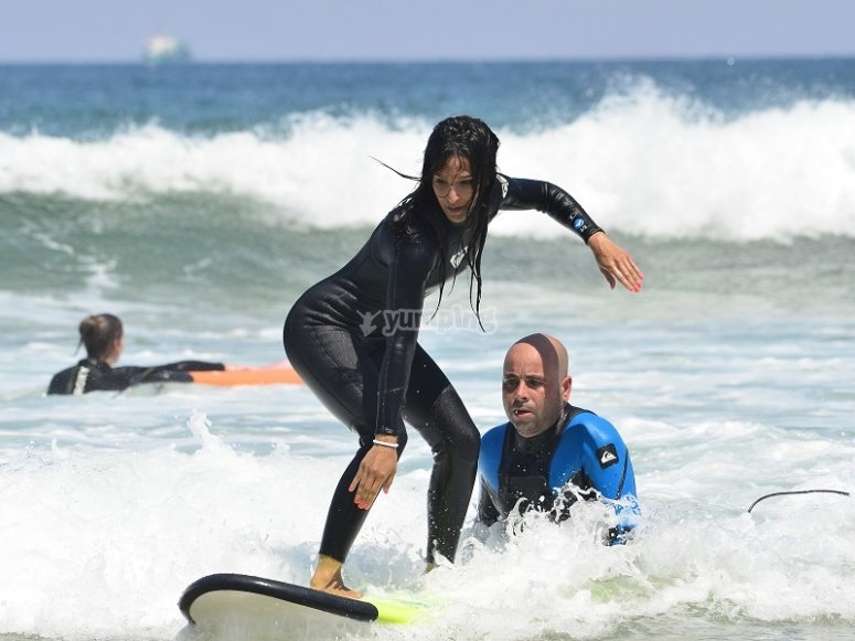 Incorporated on the surfboard