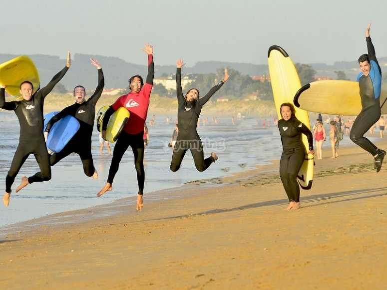 Jumping with the surfboards