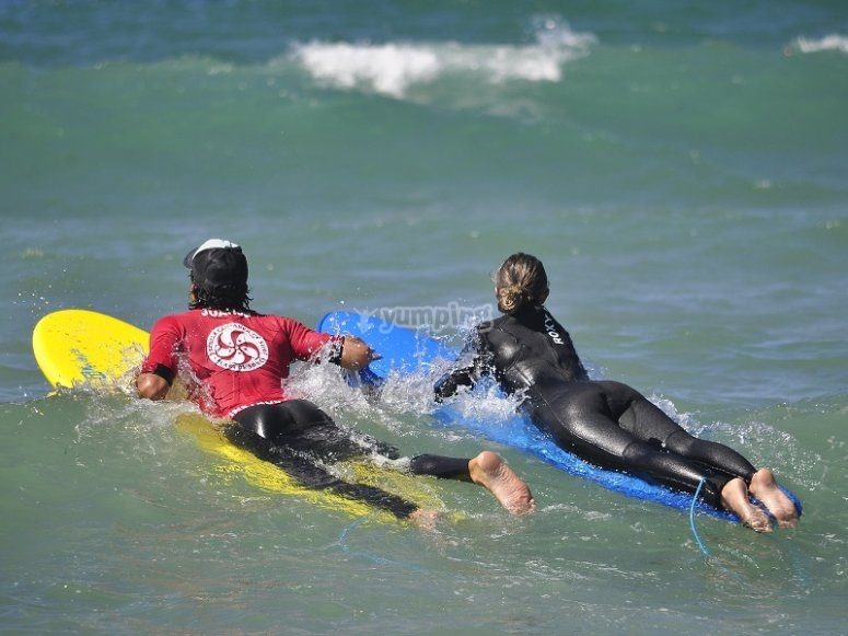 Resting on the surfboards
