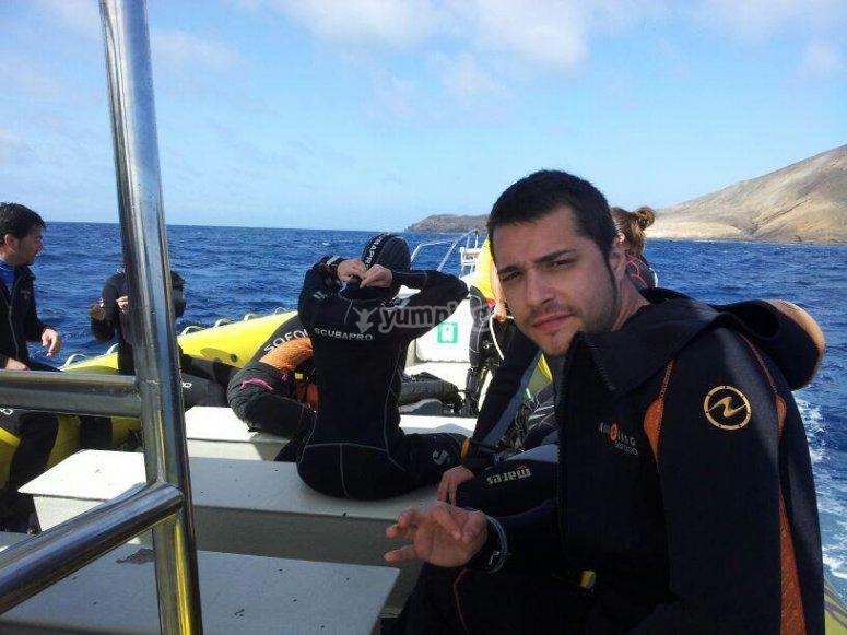 In the speedboat