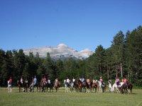 A caballo con los Pirineos detras