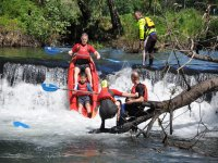 Jumping from the kayak in the Umia river