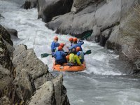 Descending in rafting inflatable boat