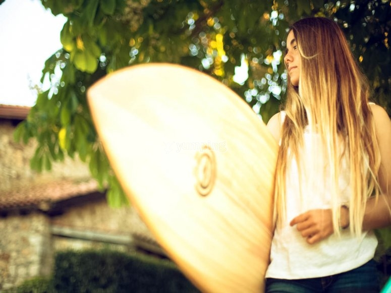 Student with the surfboard