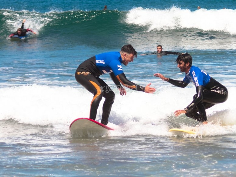 During the surfing lesson