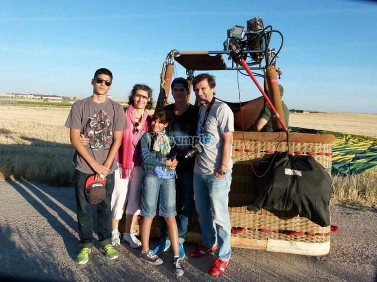 Family alongside the balloon