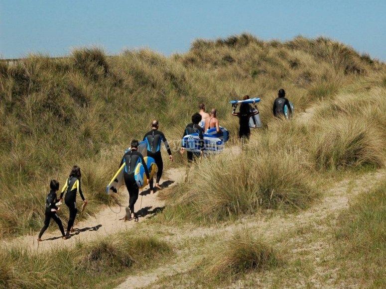 学习姿势上网冲浪的方式向海冲浪板在萨利纳斯冲浪