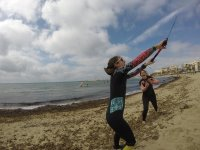 Controlando el kite en clase
