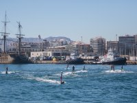 Group of surfers in the port of Alicante
