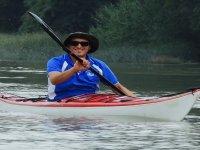 Rowing aboard the canoe