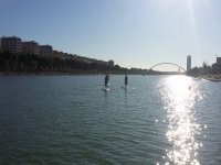 Paddle surfing in Seville