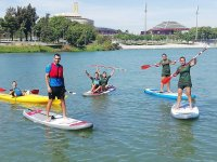 Kayaks and SUP together on the same route