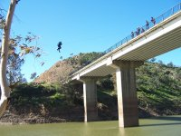 Bungee jumping on the river