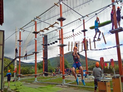 Tree-top rope circuit for kids in Lozoya