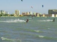 Several kites on the beach