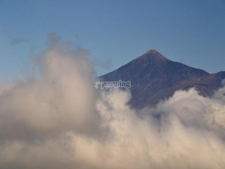 The Teide mountain among clouds
