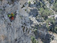 Waiting for the participant in the ferrata