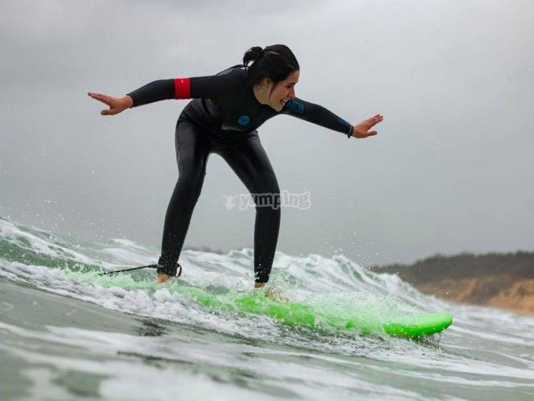 Balance on the surfboard
