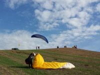 Setting up the paraglider