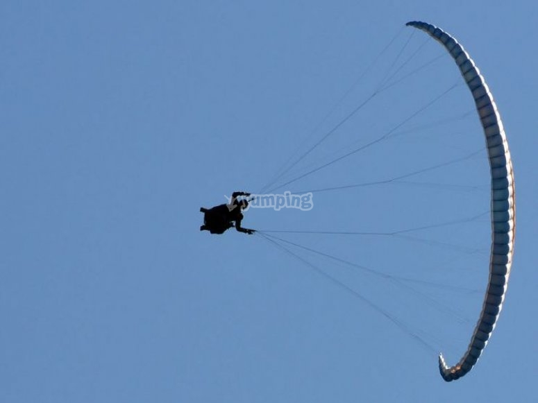 Flying with a paraglider
