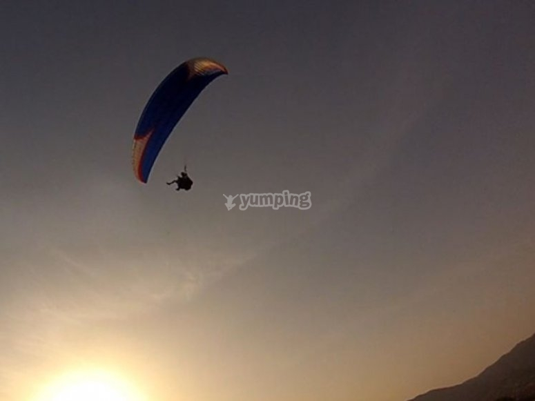 Flying during sunset